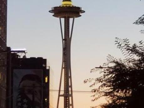 Seattle Space Needle at sunrise or sunset